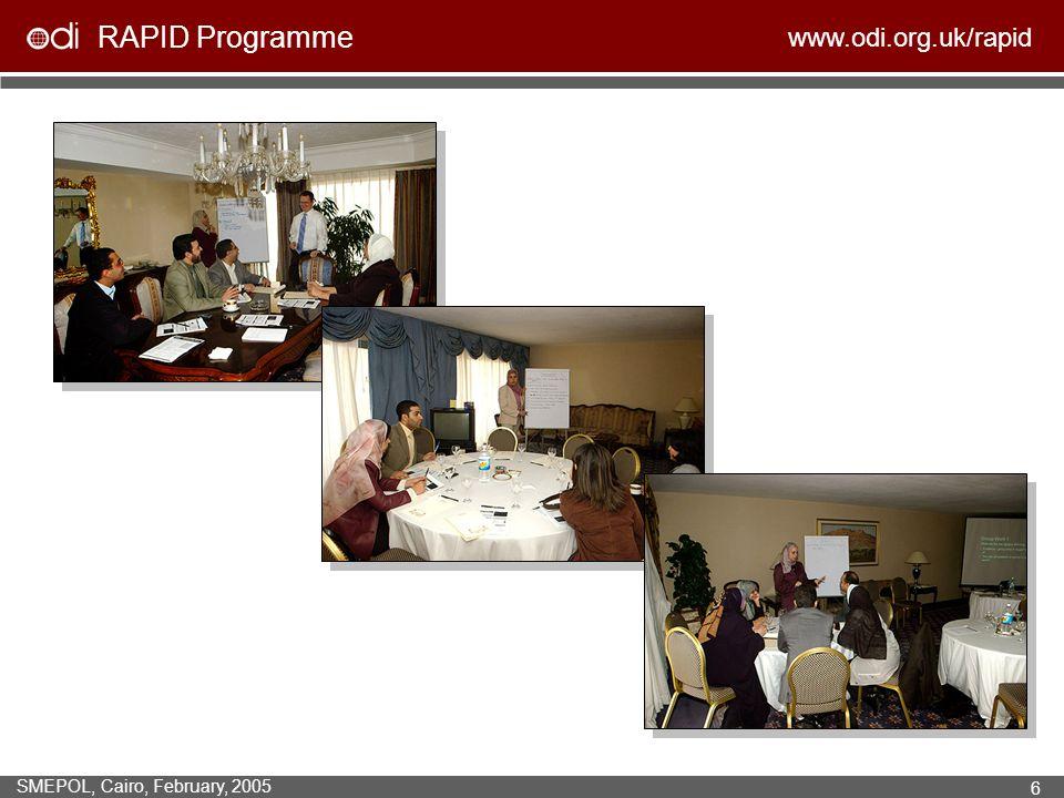 RAPID Programme www.odi.org.uk/rapid SMEPOL, Cairo, February, 2005 6