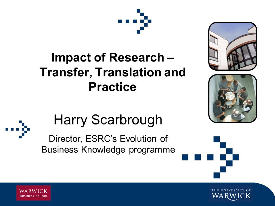 Impact of Research – Transfer, Translation and Practice Harry Scarbrough Director, ESRCs Evolution of Business Knowledge programme