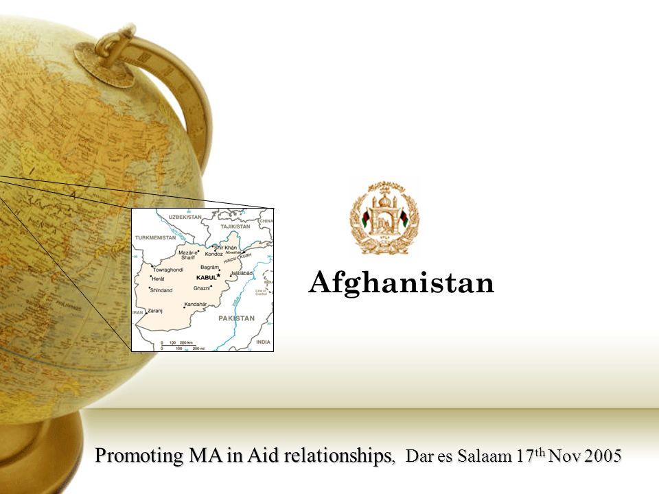 Promoting MA in Aid relationships, Dar es Salaam 17 th Nov 2005 Afghanistan