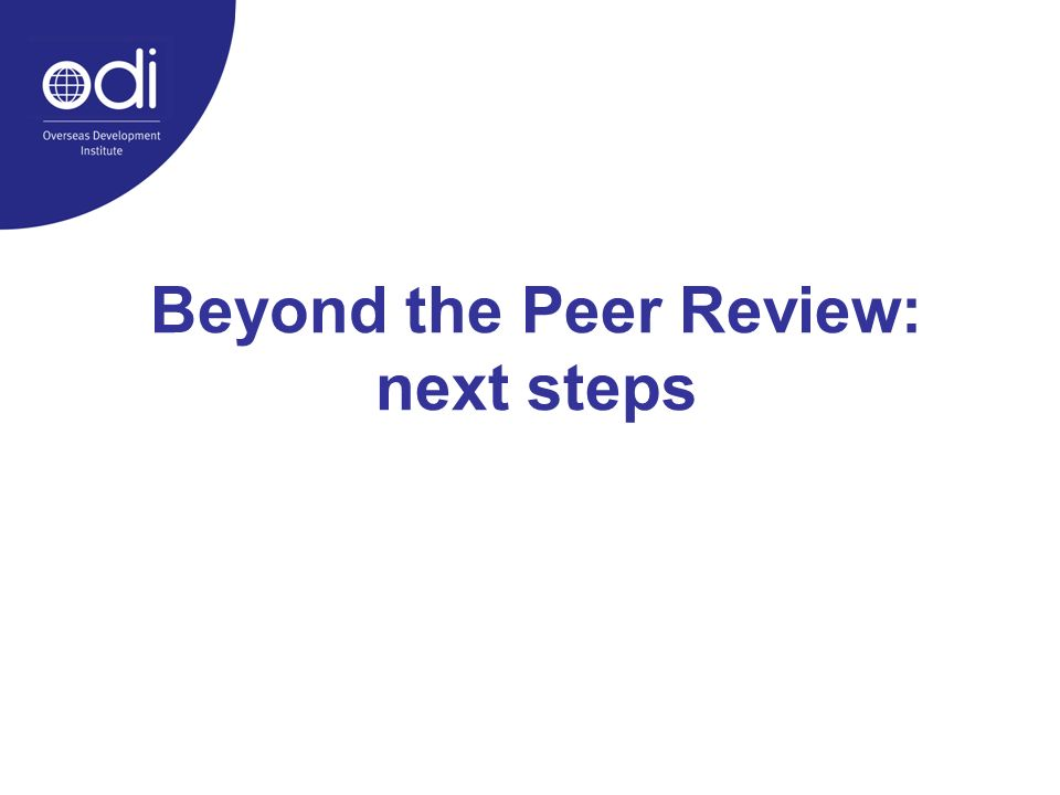 Beyond the Peer Review: next steps