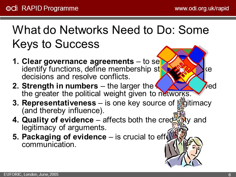 RAPID Programme www.odi.org.uk/rapid EUFORIC, London, June, 2005 6 What do Networks Need to Do: Some Keys to Success 1.Clear governance agreements – t