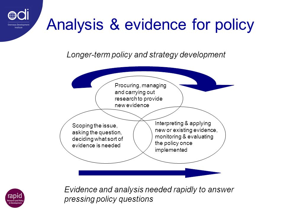 Analysis & evidence for policy Procuring, managing and carrying out research to provide new evidence Scoping the issue, asking the question, deciding