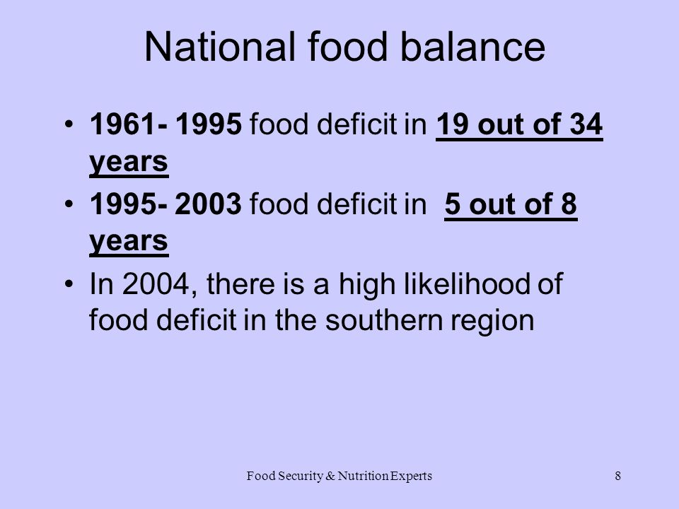 Food Security & Nutrition Experts8 National food balance 1961- 1995 food deficit in 19 out of 34 years 1995- 2003 food deficit in 5 out of 8 years In 2004, there is a high likelihood of food deficit in the southern region
