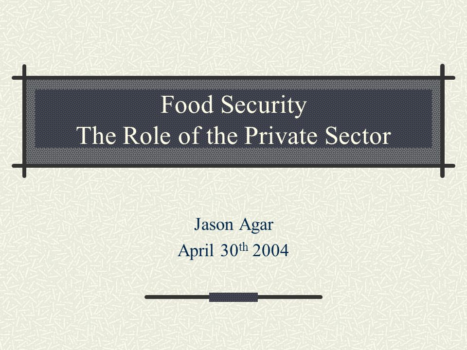 Food Security The Role of the Private Sector Jason Agar April 30 th 2004