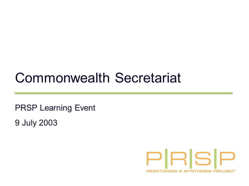 Commonwealth Secretariat PRSP Learning Event 9 July 2003