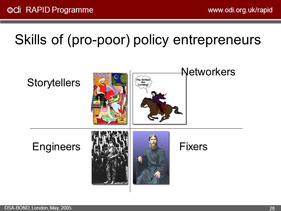 RAPID Programme   DSA-BOND, London, May, Skills of (pro-poor) policy entrepreneurs Storytellers Engineers Networkers Fixers