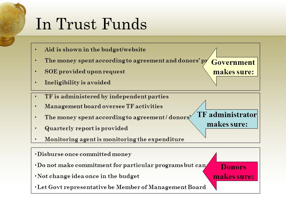 In Trust Funds Aid is shown in the budget/website The money spent according to agreement and donors preference SOE provided upon request Ineligibility is avoided TF is administered by independent parties Management board oversee TF activities The money spent according to agreement / donors preference Quarterly report is provided Monitoring agent is monitoring the expenditure Disburse once committed money Do not make commitment for particular programs but can prefer some Not change idea once in the budget Let Govt representative be Member of Management Board Government makes sure: TF administrator makes sure: Donors makes sure: