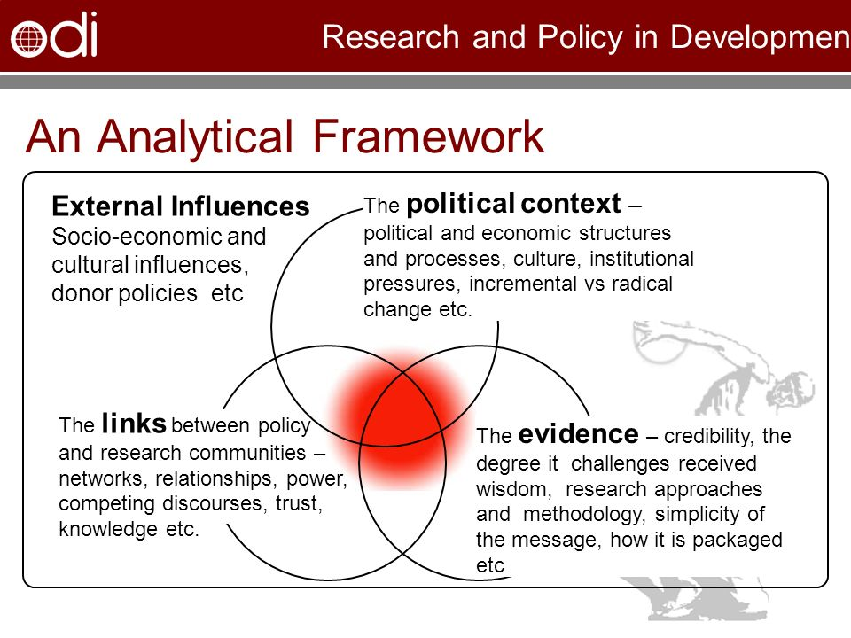 Research and Policy in Development An Analytical Framework The political context – political and economic structures and processes, culture, institutional pressures, incremental vs radical change etc.