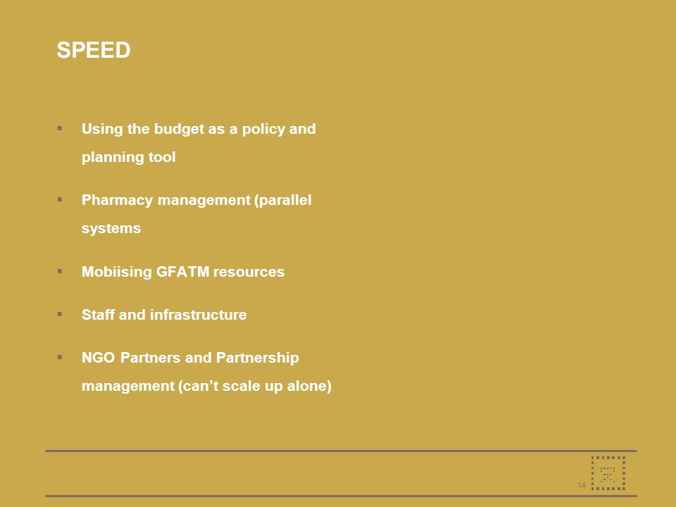 14 SPEED Using the budget as a policy and planning tool Pharmacy management (parallel systems Mobiising GFATM resources Staff and infrastructure NGO Partners and Partnership management (cant scale up alone)
