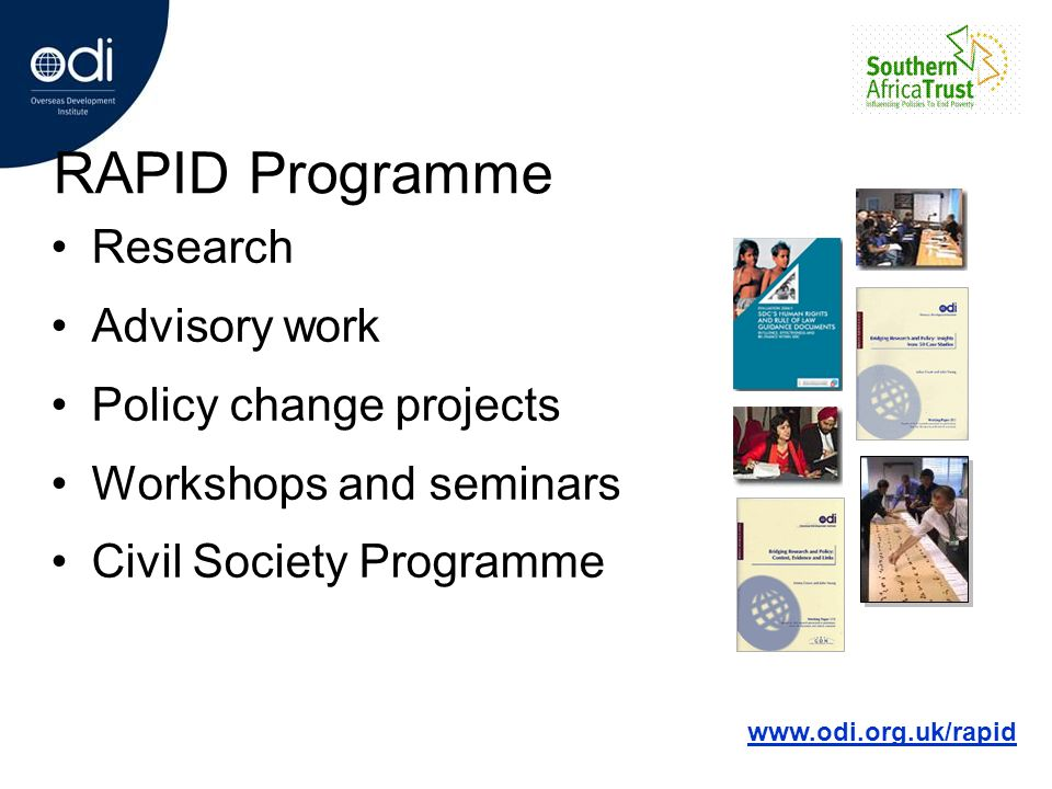 PRSPs – Political Context Widespread awareness of a problem with international development policy in late 90s Failure of SAPs (and Asian financial crisis) Mounting public pressure for debt relief Stagnation of Comprehensive Development Framework idea Diverging agendas (UK – Poverty, US – Governance) WB/IMF Annual General Meeting, Sept 1999