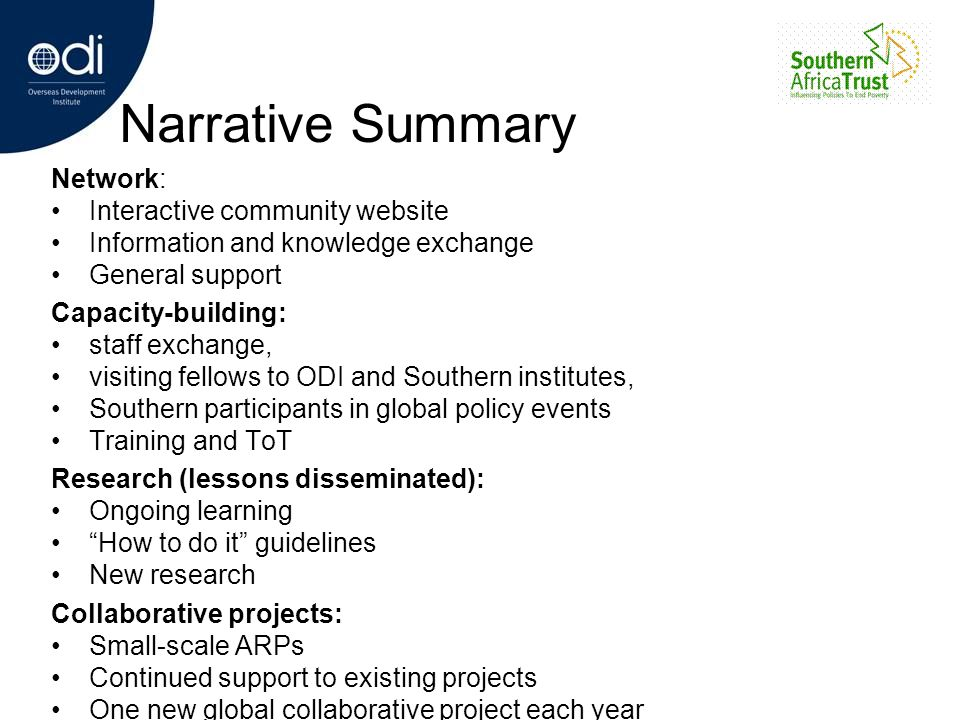 Narrative Summary Network: Interactive community website Information and knowledge exchange General support Capacity-building: staff exchange, visitin
