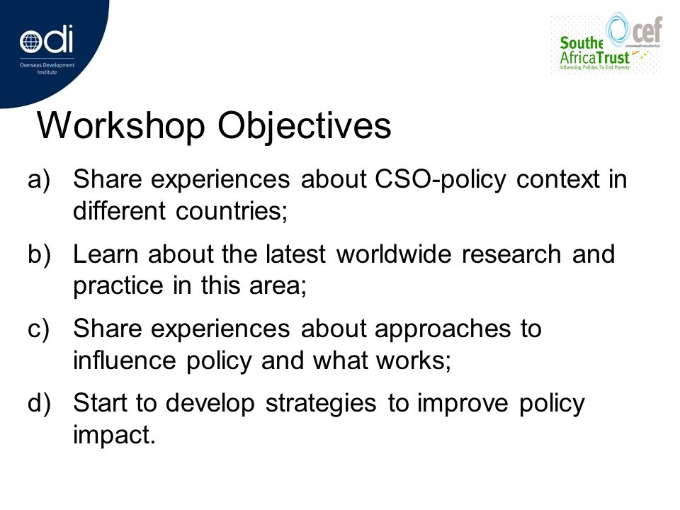 What the CSOs need to do to influence Policy.