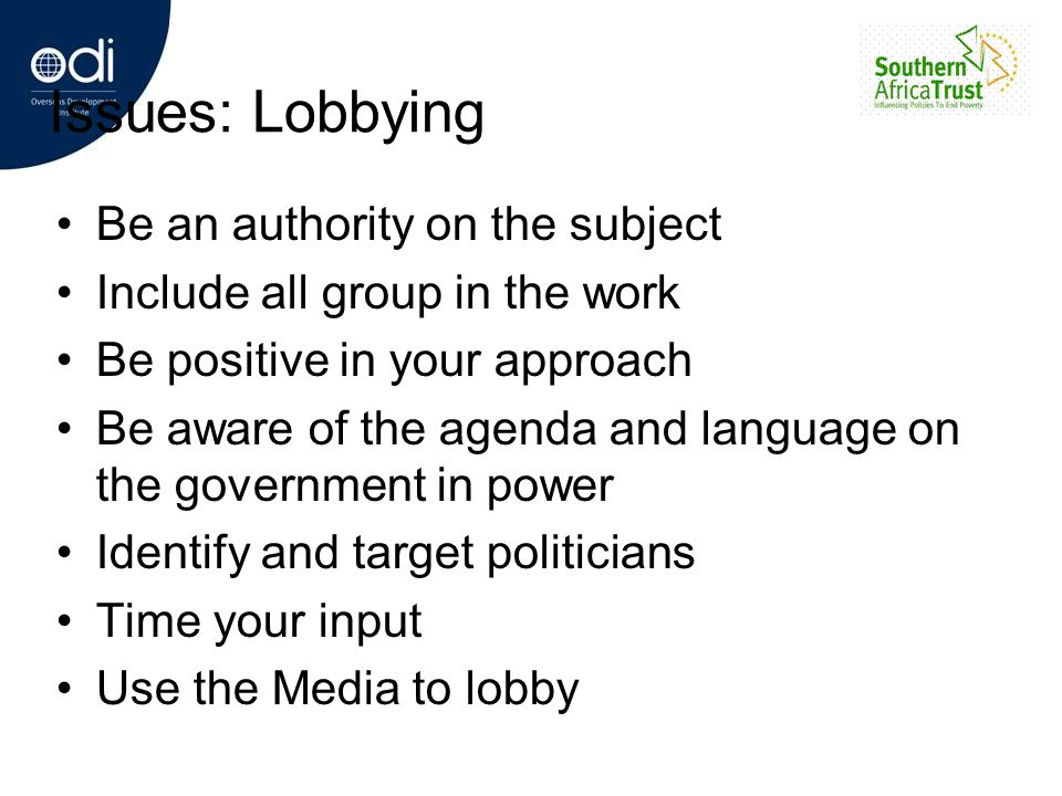 Issues: Lobbying Be an authority on the subject Include all group in the work Be positive in your approach Be aware of the agenda and language on the