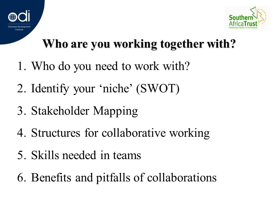 Who are you working together with? 1.Who do you need to work with? 2.Identify your niche (SWOT) 3.Stakeholder Mapping 4.Structures for collaborative w