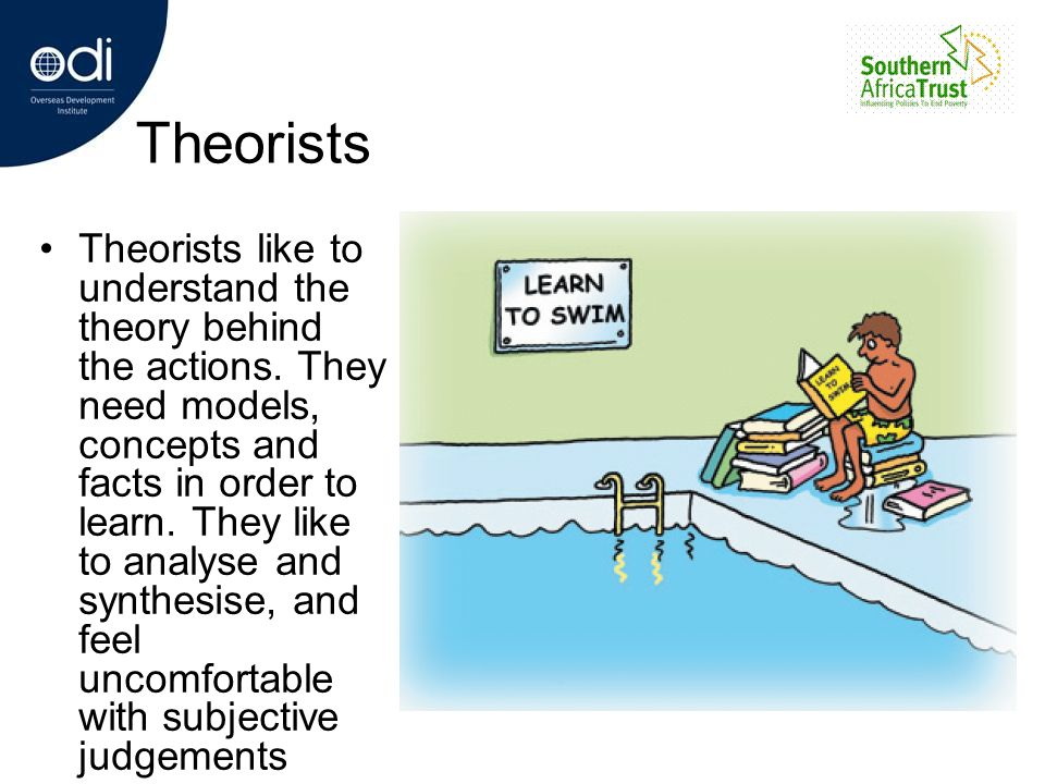 Theorists Theorists like to understand the theory behind the actions. They need models, concepts and facts in order to learn. They like to analyse and