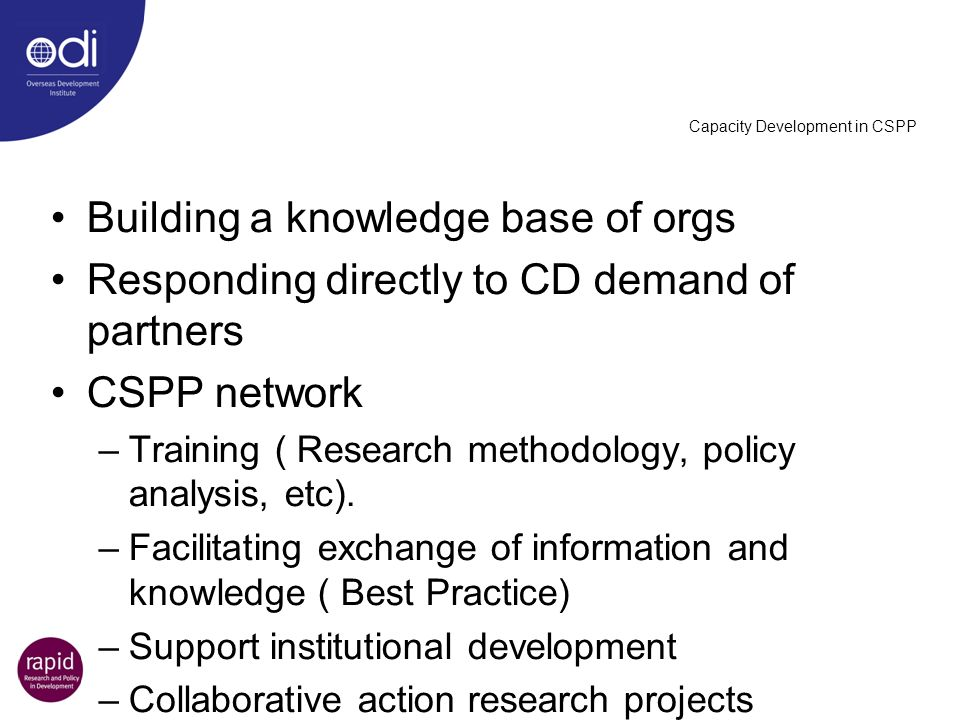 Capacity Development in CSPP Building a knowledge base of orgs Responding directly to CD demand of partners CSPP network –Training ( Research methodol
