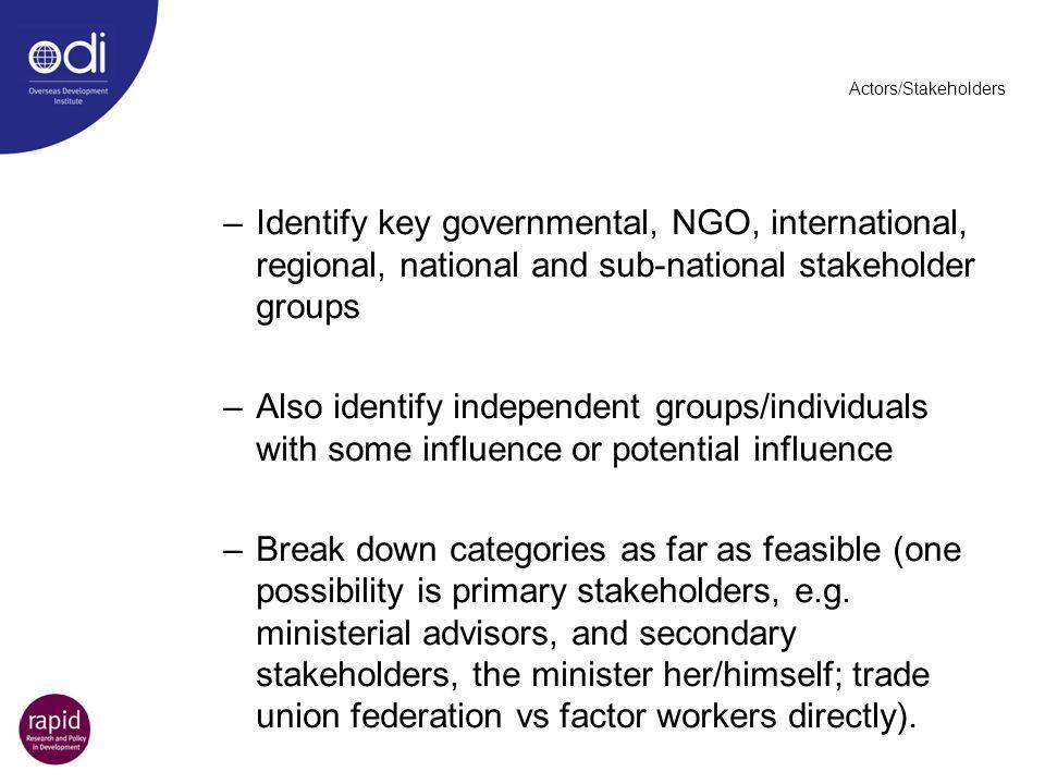 Actors/Stakeholders –Identify key governmental, NGO, international, regional, national and sub-national stakeholder groups –Also identify independent