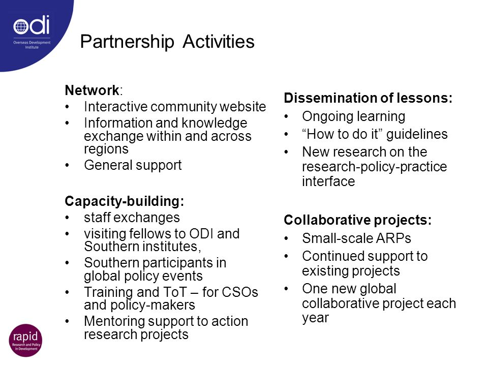 Partnership Activities Network: Interactive community website Information and knowledge exchange within and across regions General support Capacity-bu