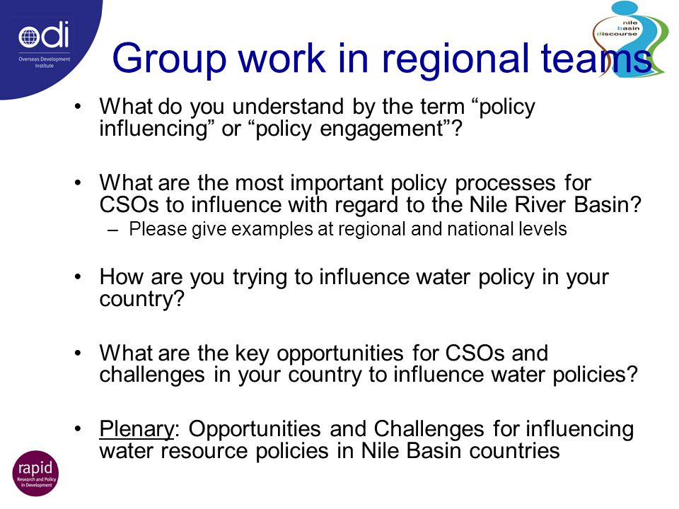 Group work in regional teams What do you understand by the term policy influencing or policy engagement.