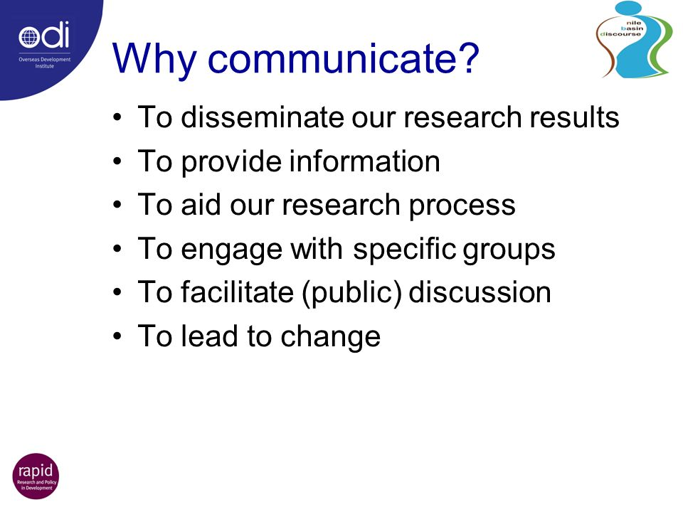 Why communicate.