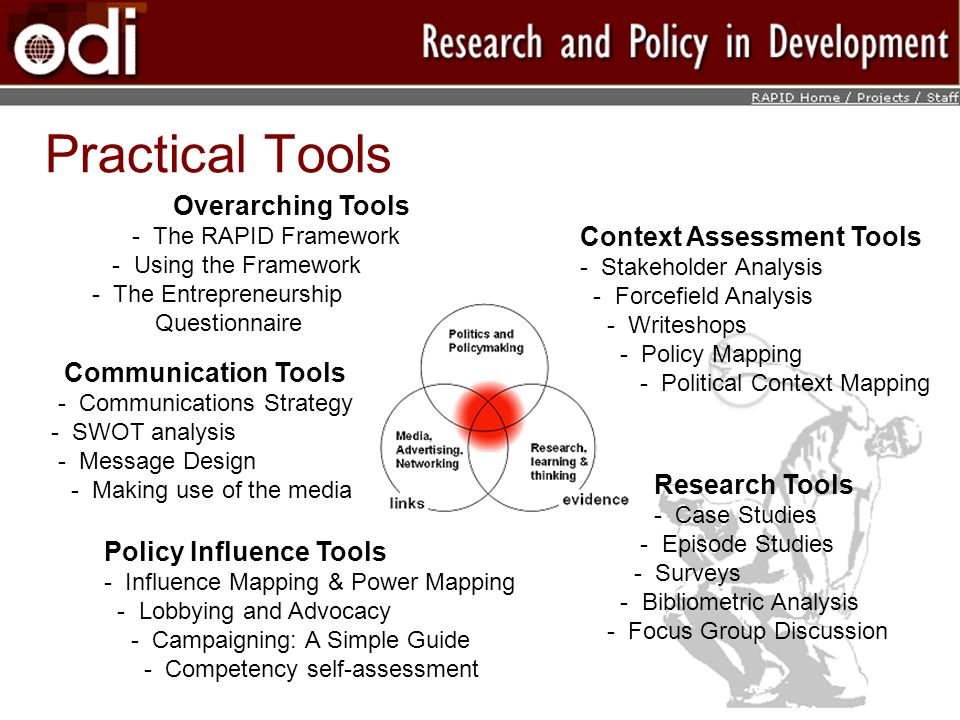 Practical Tools Overarching Tools - The RAPID Framework - Using the Framework - The Entrepreneurship Questionnaire Context Assessment Tools - Stakeholder Analysis - Forcefield Analysis - Writeshops - Policy Mapping - Political Context Mapping Communication Tools - Communications Strategy - SWOT analysis - Message Design - Making use of the media Research Tools - Case Studies - Episode Studies - Surveys - Bibliometric Analysis - Focus Group Discussion Policy Influence Tools - Influence Mapping & Power Mapping - Lobbying and Advocacy - Campaigning: A Simple Guide - Competency self-assessment