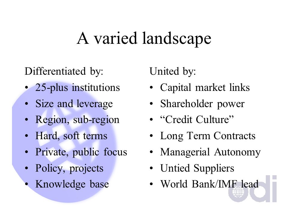 A varied landscape Differentiated by: 25-plus institutions Size and leverage Region, sub-region Hard, soft terms Private, public focus Policy, project