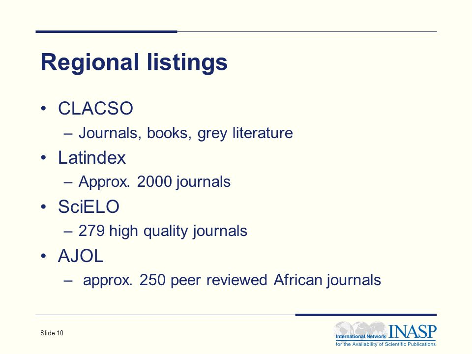 Slide 10 Regional listings CLACSO –Journals, books, grey literature Latindex –Approx.