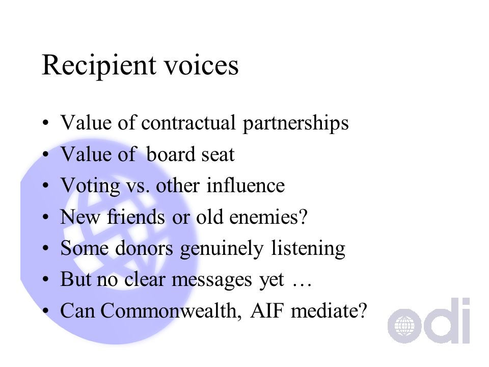 Recipient voices Value of contractual partnerships Value of board seat Voting vs.