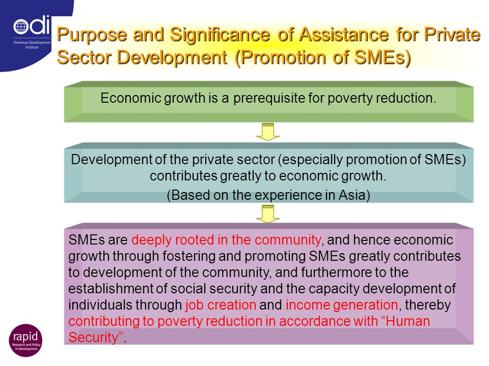 Purpose and Significance of Assistance for Private Sector Development (Promotion of SMEs) Economic growth is a prerequisite for poverty reduction.