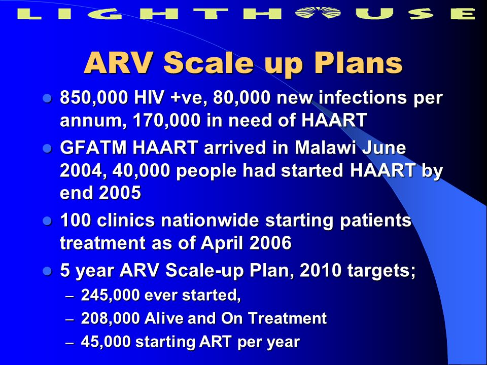 ARV Scale up Plans 850,000 HIV +ve, 80,000 new infections per annum, 170,000 in need of HAART 850,000 HIV +ve, 80,000 new infections per annum, 170,00