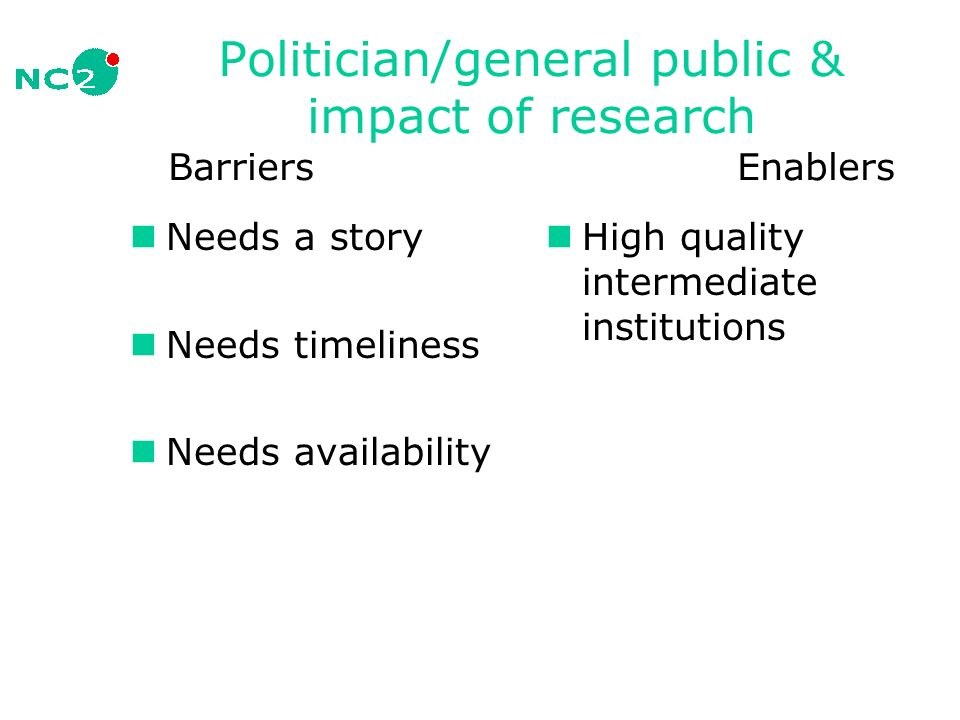 Politician/general public & impact of research Barriers Enablers Needs a story Needs timeliness Needs availability High quality intermediate institutions