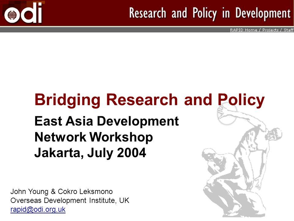Bridging Research and Policy East Asia Development Network Workshop Jakarta, July 2004 John Young & Cokro Leksmono Overseas Development Institute, UK rapid@odi.org.uk