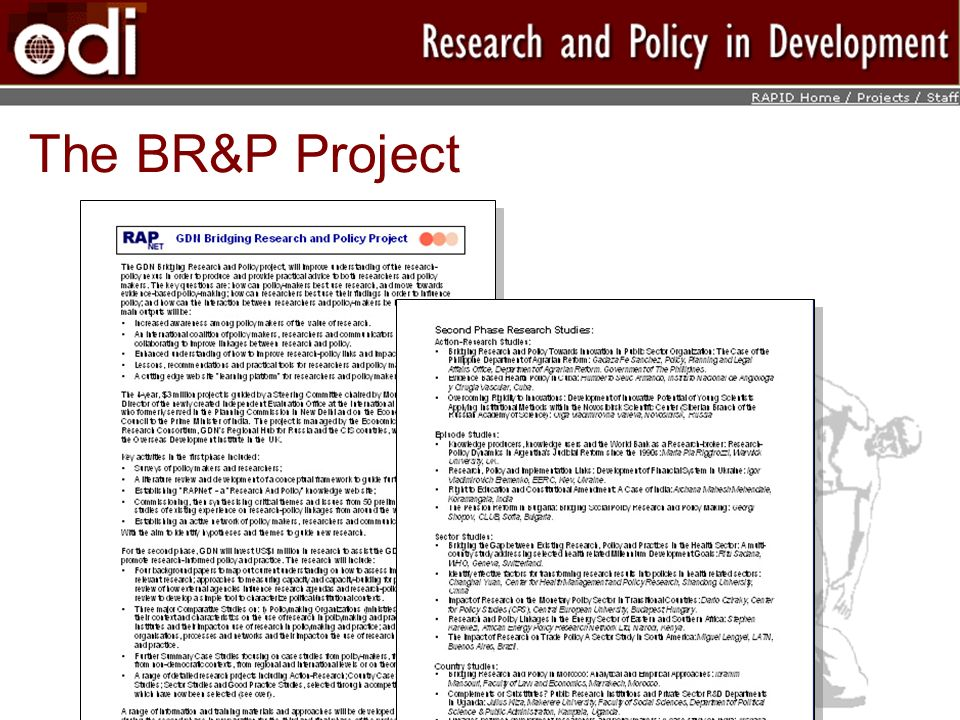 The BR&P Project