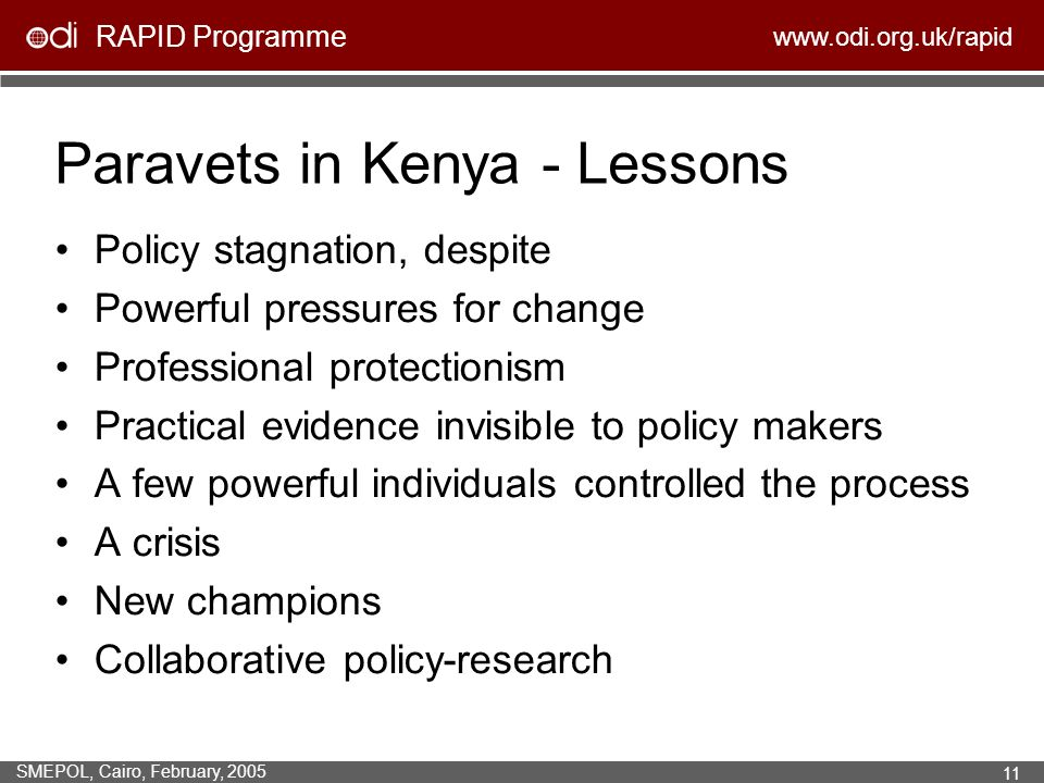 RAPID Programme www.odi.org.uk/rapid SMEPOL, Cairo, February, 2005 11 Policy stagnation, despite Powerful pressures for change Professional protectionism Practical evidence invisible to policy makers A few powerful individuals controlled the process A crisis New champions Collaborative policy-research Paravets in Kenya - Lessons