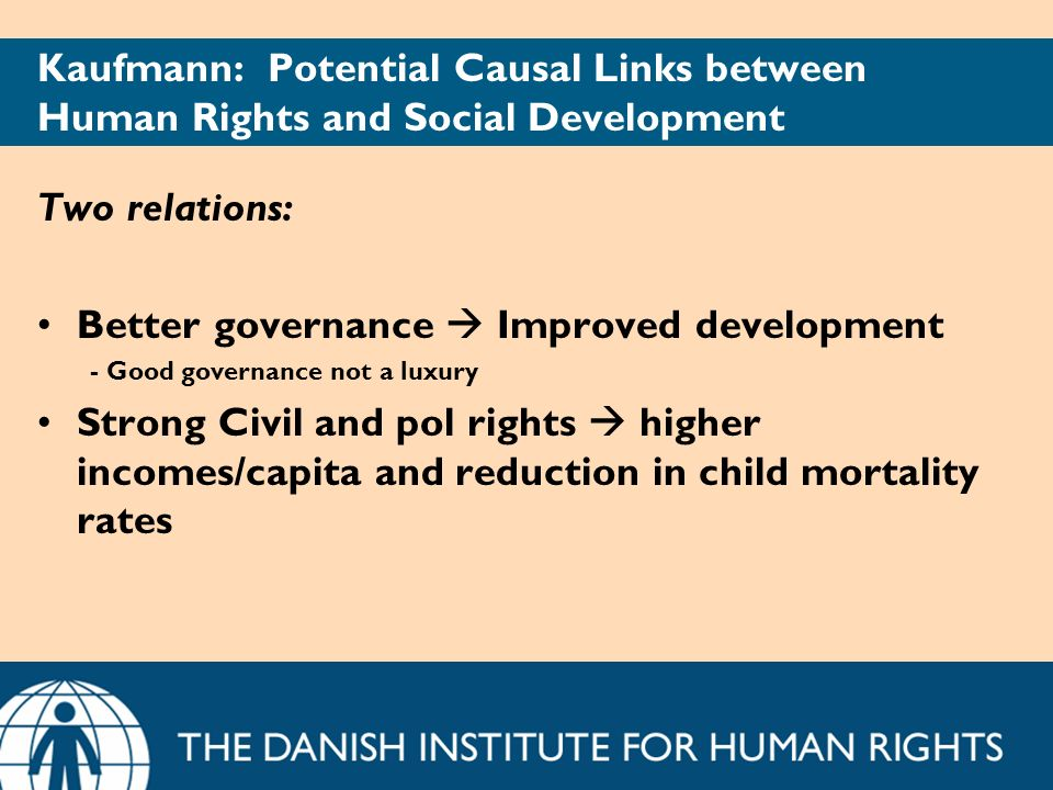 Kaufmann: Potential Causal Links between Human Rights and Social Development Two relations: Better governance Improved development - Good governance n