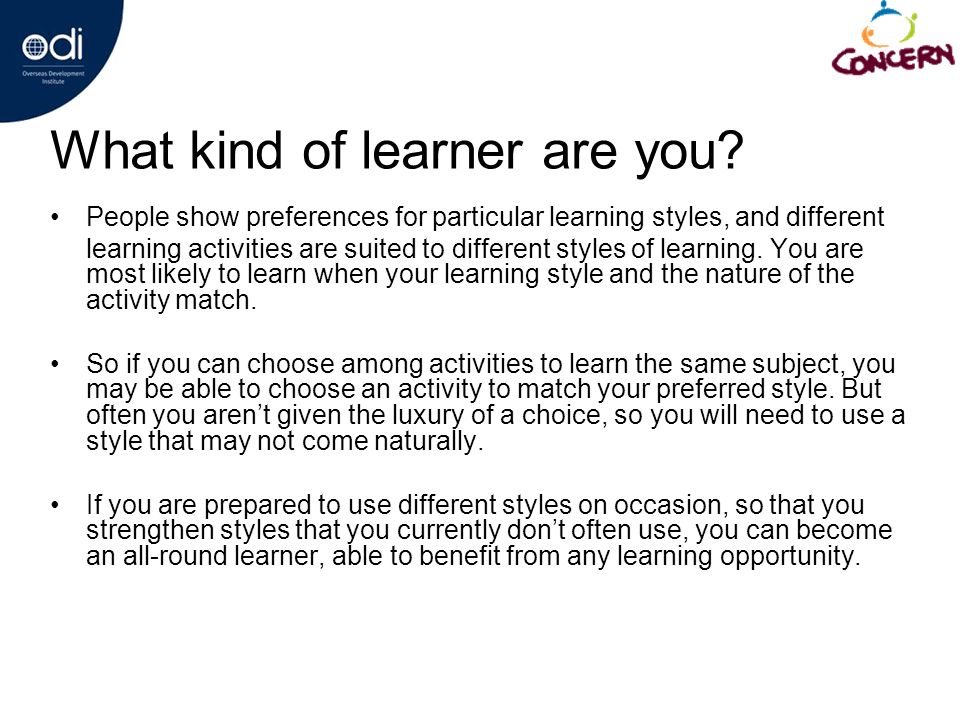 What kind of learner are you.