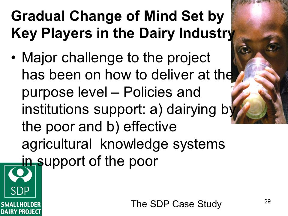 The SDP Case Study 29 Gradual Change of Mind Set by Key Players in the Dairy Industry Major challenge to the project has been on how to deliver at the purpose level – Policies and institutions support: a) dairying by the poor and b) effective agricultural knowledge systems in support of the poor