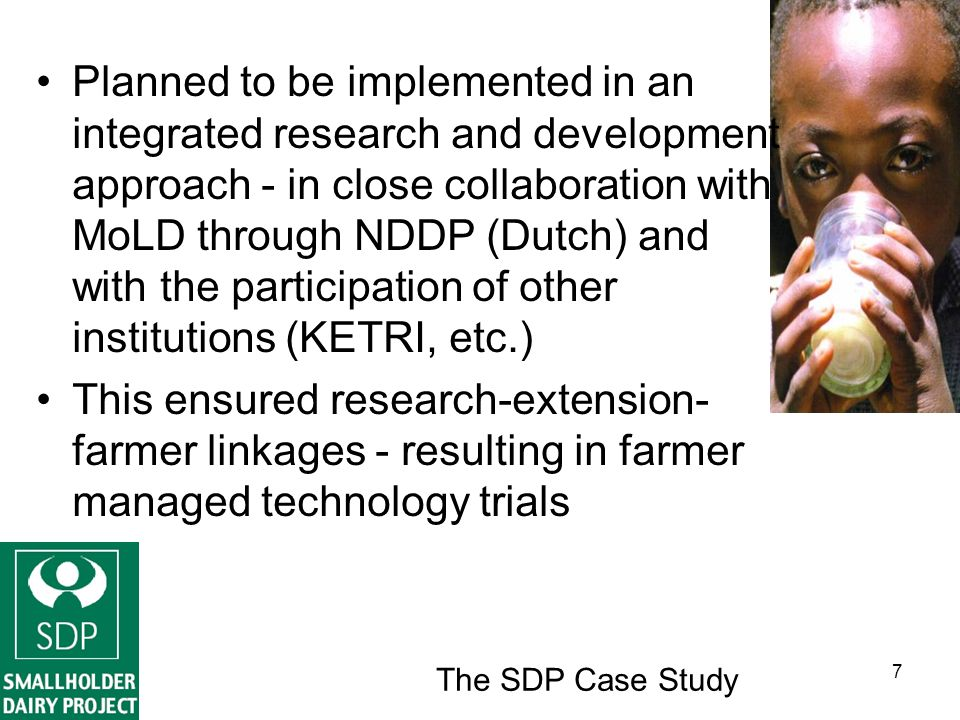 The SDP Case Study 8 On station proven technologies also tested systematically with farmers through: –Farmer/extension staff visits to the long-term on-station experiments; –Research-extension managed demonstration plots on selected farms; –Field days held on these farms and those of early adopters; and –Farmer-managed trials on some 300 farms in 4 districts of the coastal lowlands.