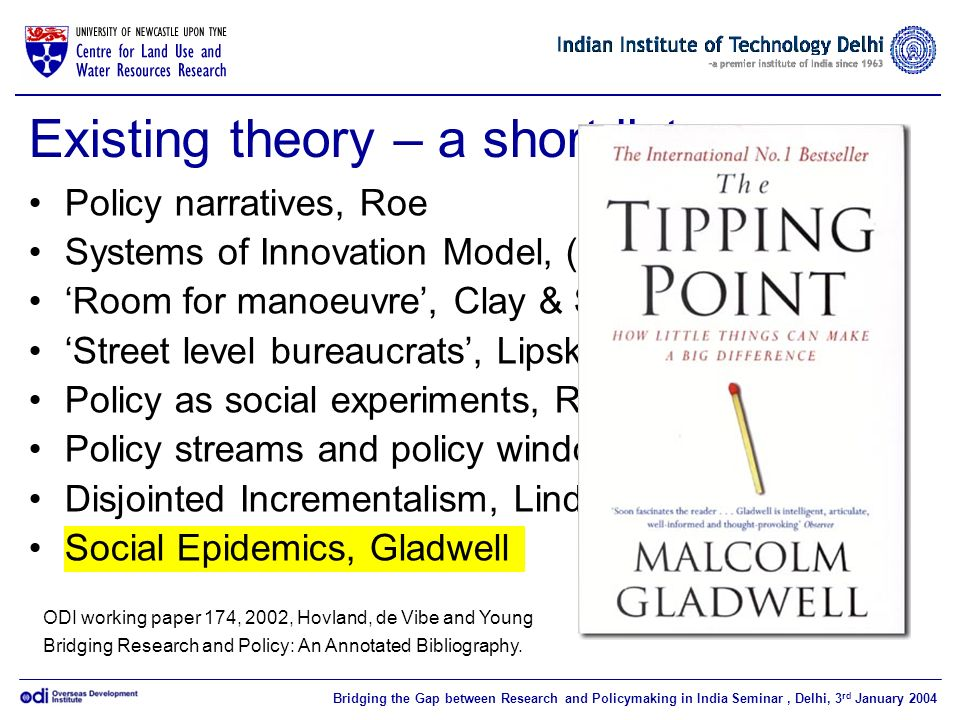 Bridging the Gap between Research and Policymaking in India Seminar, Delhi, 3 rd January 2004 Existing theory – a short list Policy narratives, Roe Systems of Innovation Model, (NSI) Room for manoeuvre, Clay & Schaffer Street level bureaucrats, Lipsky Policy as social experiments, Rondene Policy streams and policy windows, Kingdon Disjointed Incrementalism, Lindquist Social Epidemics, Gladwell ODI working paper 174, 2002, Hovland, de Vibe and Young Bridging Research and Policy: An Annotated Bibliography.