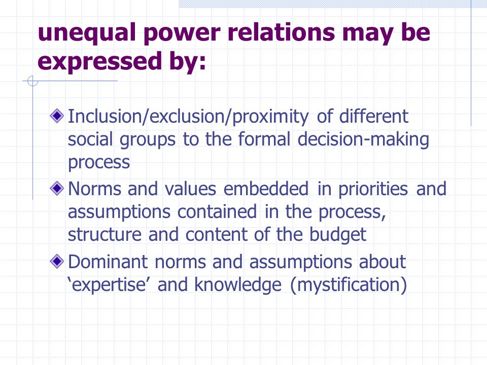 Key areas for understanding: Formal structure of roles and responsibilities Formal rules governing decision-making, political choice & accountability Networks of stakeholder power and influence which influence budget outcomes Incentives for action (covert/overt) affecting decision making during formulation and execution Latitude for bureaucratic discretion at all levels of the budget execution process Dominant norms and values in key institutions