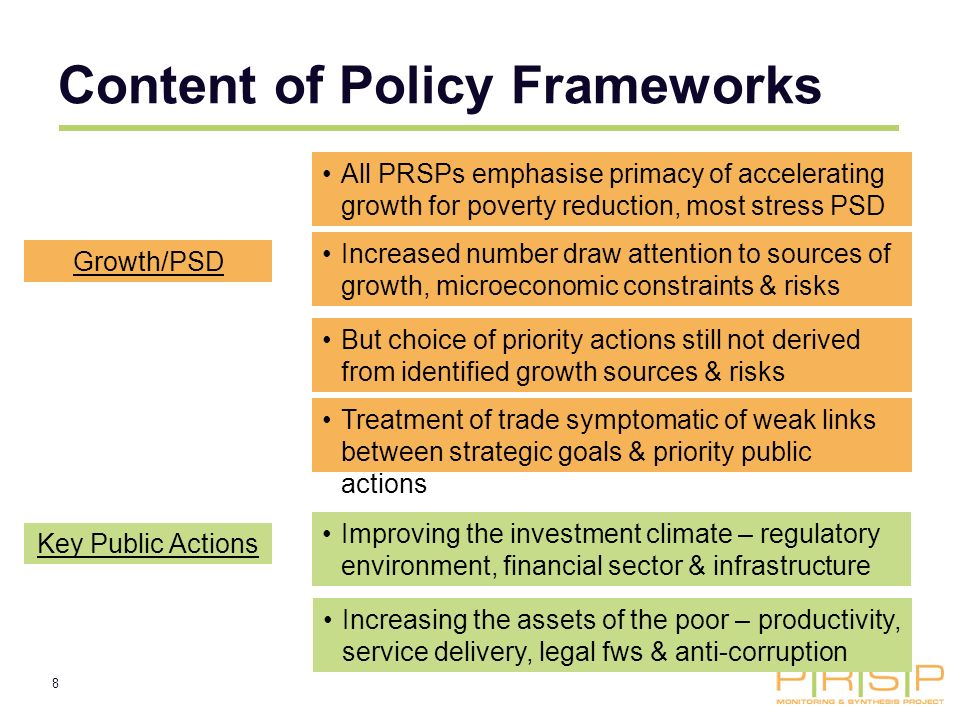 8 Content of Policy Frameworks Growth/PSD All PRSPs emphasise primacy of accelerating growth for poverty reduction, most stress PSD Treatment of trade symptomatic of weak links between strategic goals & priority public actions Increased number draw attention to sources of growth, microeconomic constraints & risks But choice of priority actions still not derived from identified growth sources & risks Key Public Actions Improving the investment climate – regulatory environment, financial sector & infrastructure Increasing the assets of the poor – productivity, service delivery, legal fws & anti-corruption
