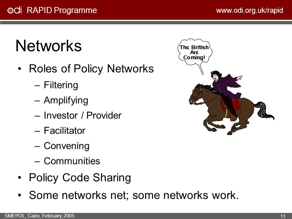 RAPID Programme www.odi.org.uk/rapid SMEPOL, Cairo, February, 2005 11 Networks Roles of Policy Networks –Filtering –Amplifying –Investor / Provider –F