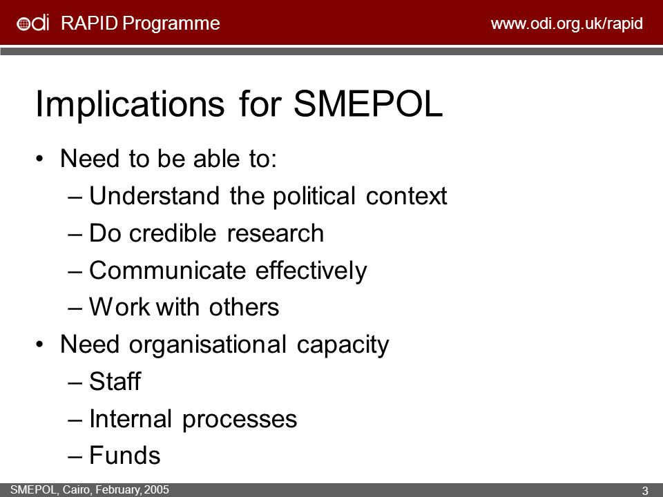 RAPID Programme www.odi.org.uk/rapid SMEPOL, Cairo, February, 2005 3 Implications for SMEPOL Need to be able to: –Understand the political context –Do