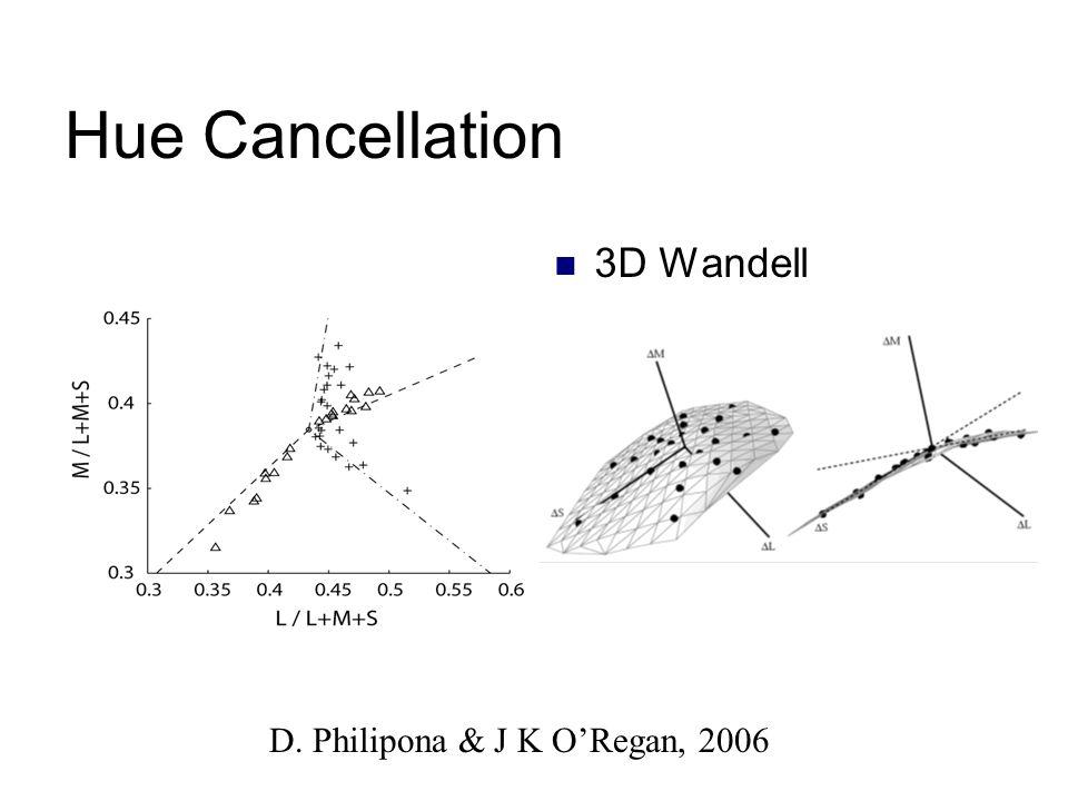 Hue Cancellation 3D Wandell D. Philipona & J K ORegan, 2006