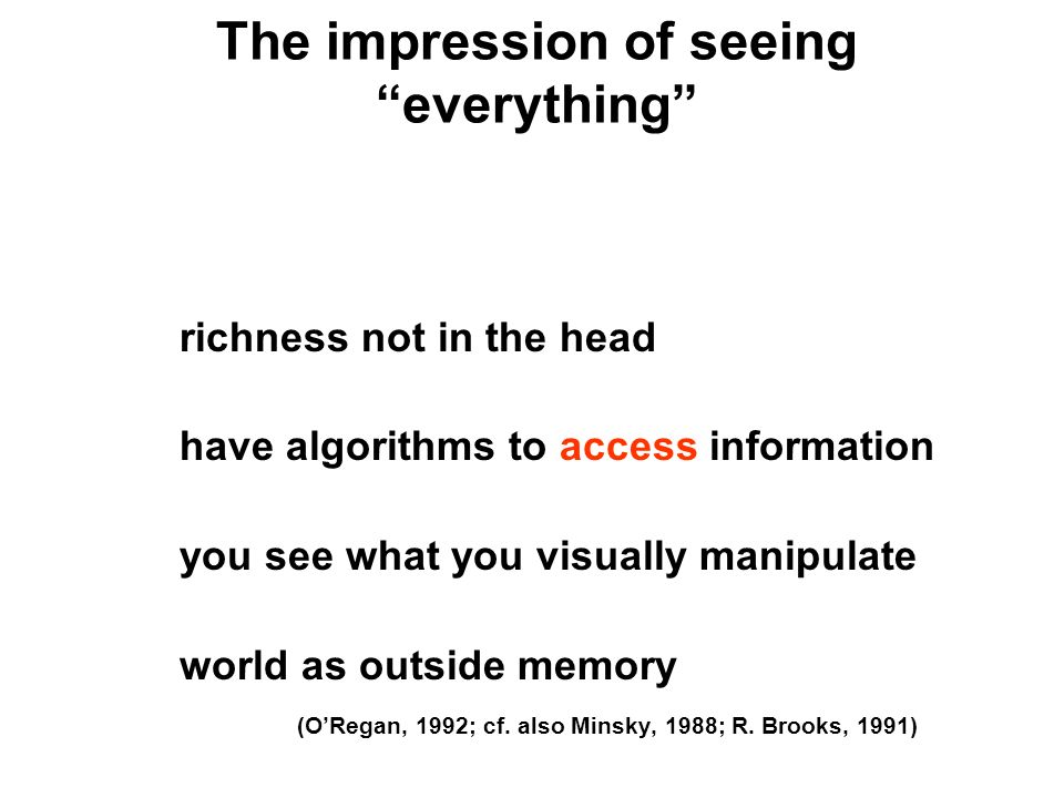 The impression of seeing everything richness not in the head have algorithms to access information you see what you visually manipulate world as outside memory (ORegan, 1992; cf.