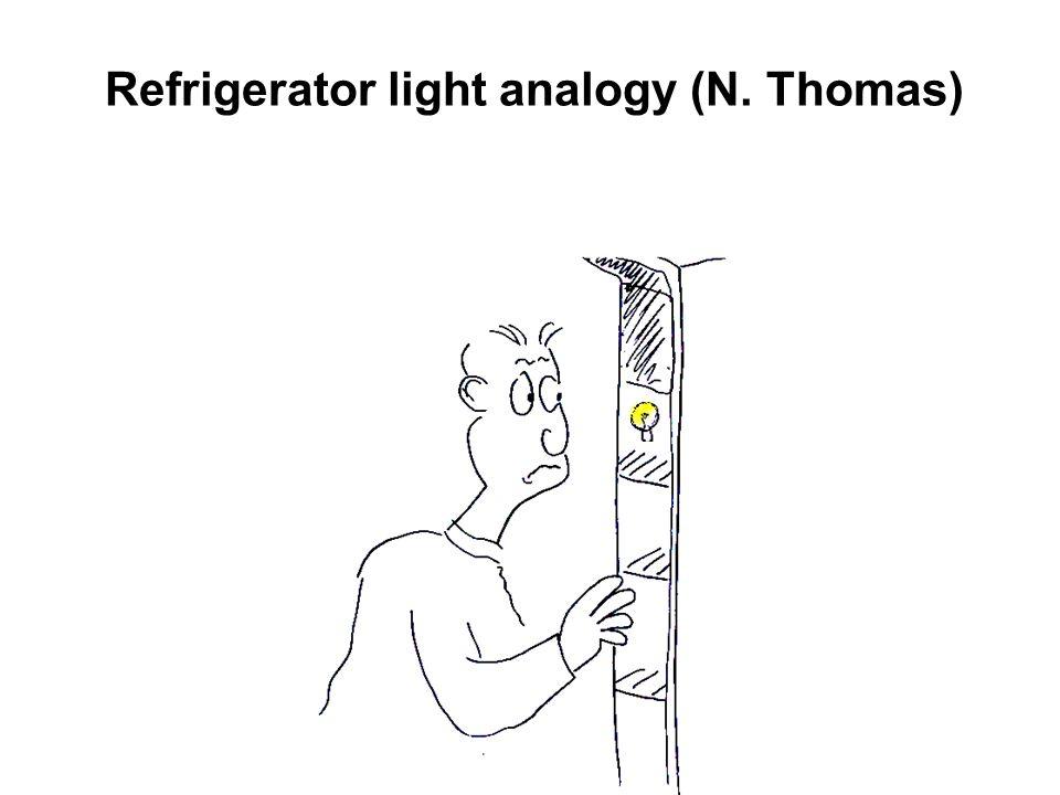 Refrigerator light analogy (N. Thomas)