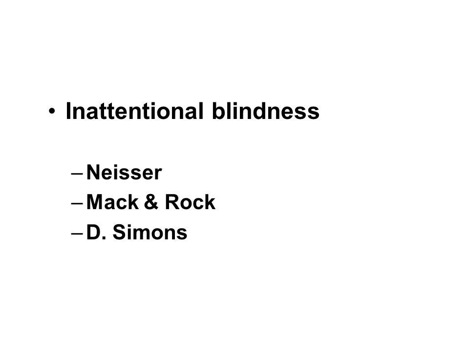 Inattentional blindness –Neisser –Mack & Rock –D. Simons