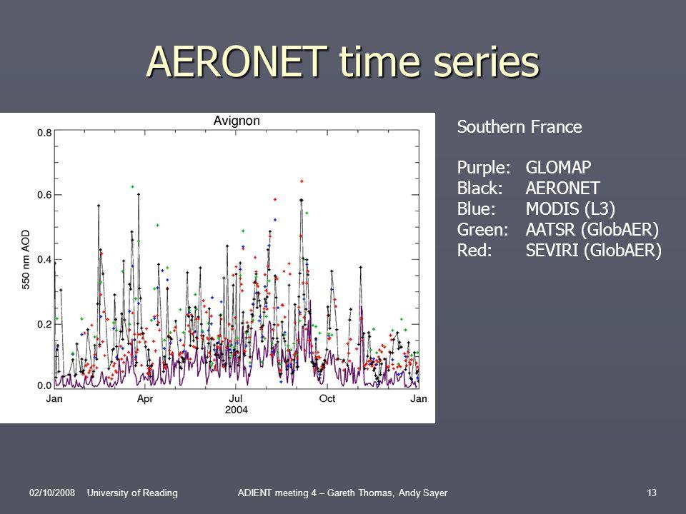 AERONET time series 02/10/2008 University of ReadingADIENT meeting 4 – Gareth Thomas, Andy Sayer13 Southern France Purple:GLOMAP Black:AERONET Blue:MODIS (L3) Green:AATSR (GlobAER) Red:SEVIRI (GlobAER)