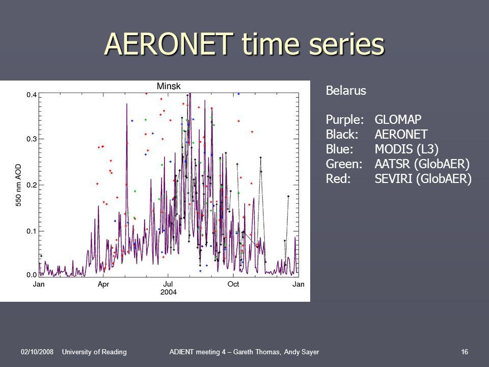 AERONET time series 02/10/2008 University of ReadingADIENT meeting 4 – Gareth Thomas, Andy Sayer16 Belarus Purple:GLOMAP Black:AERONET Blue:MODIS (L3) Green:AATSR (GlobAER) Red:SEVIRI (GlobAER)