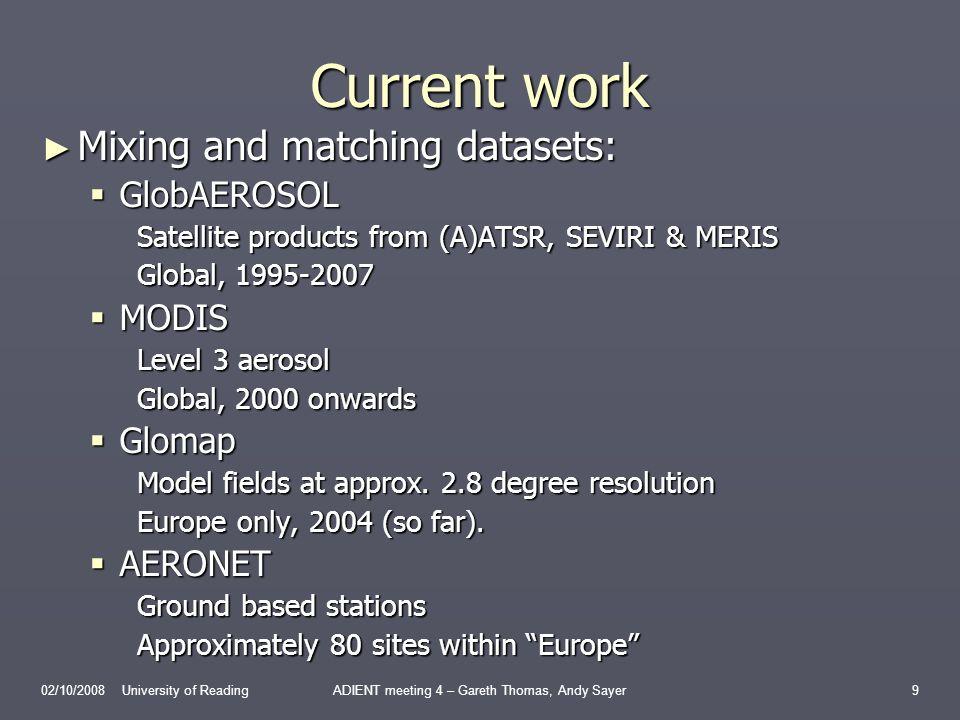 Progress thus far Preliminary comparison of optical depths has been done: Preliminary comparison of optical depths has been done: Monthly means calculated from both satellite and GLOMAP data.